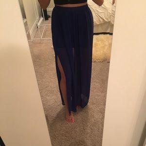 Long sheer skirt with slits